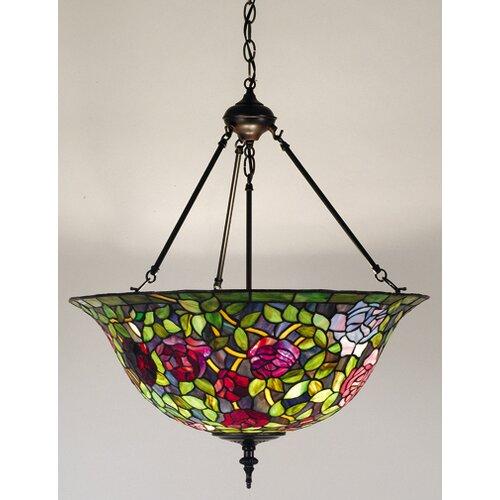 Victorian Tiffany Rosebush 3 Light Inverted Pendant