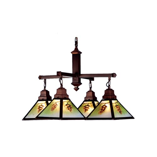 Rustic Northwoods Pinecone 4 Light Hand Painted Chandelier