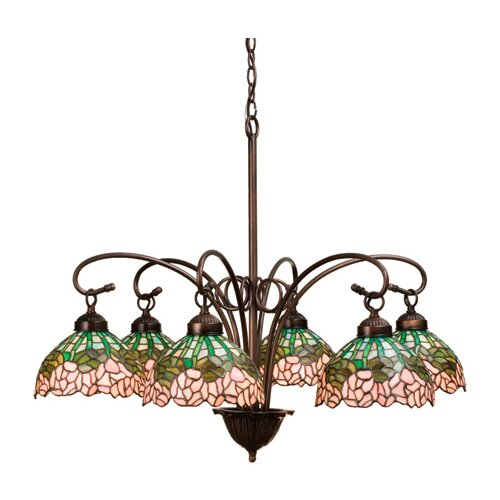 Meyda Tiffany 6 Light Tiffany Cabbage Rose Chandelier