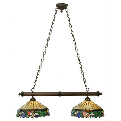 Meyda Tiffany Tiffany Green Billiard 2 Light Kitchen Island Pendant