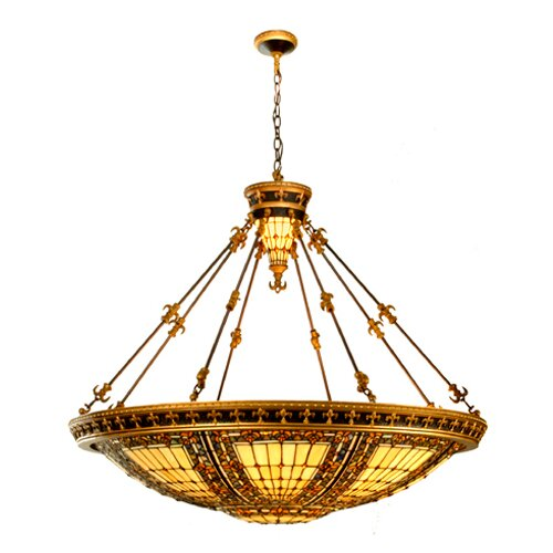 Meyda Tiffany Victorian Tiffany Fleur-De-Lis 10 Light Inverted Pendant