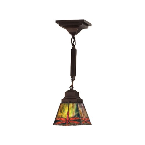 Meyda Tiffany Mission Stickley Prairie Dragonfly 1 Light Mini Pendant