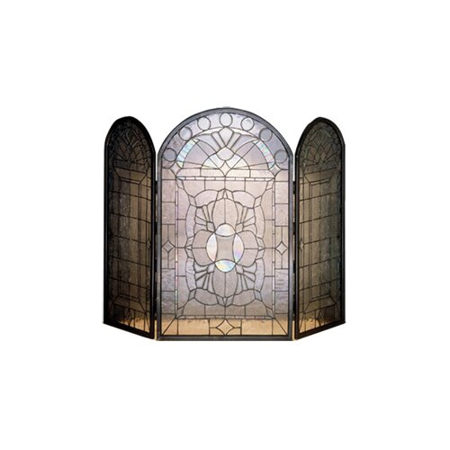 Beveled Glass 3 Panel Fireplace Screen