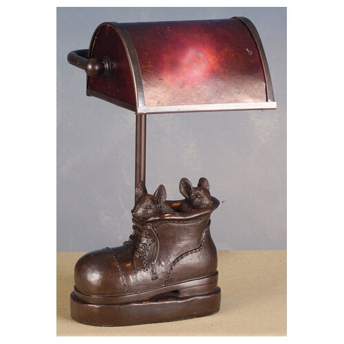 "Meyda Tiffany Mice in Shoe Banker-Style 10"" H Table Lamp"