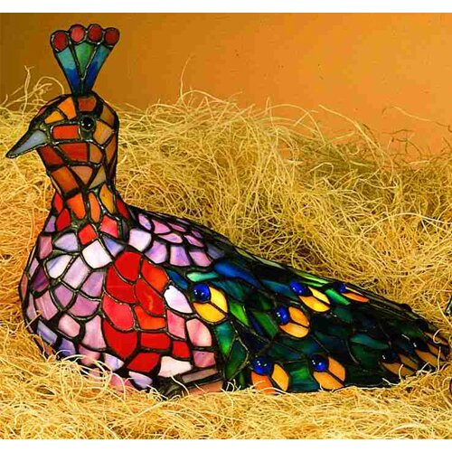 "Meyda Tiffany Tiffany 10"" H Peacock Accent Table Lamp"