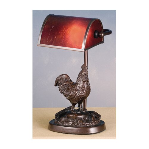 "Meyda Tiffany Rooster Banker-Style 11"" H Table Lamp"