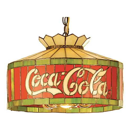 Meyda Tiffany Tiffany Art Glass Americana Recreation 6 Light Coca-Cola Pendant