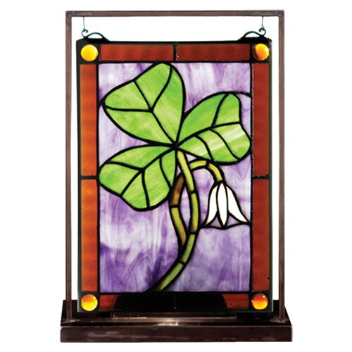 Meyda Tiffany Shamrock Lighted Mini Tabletop Window Table Lamp