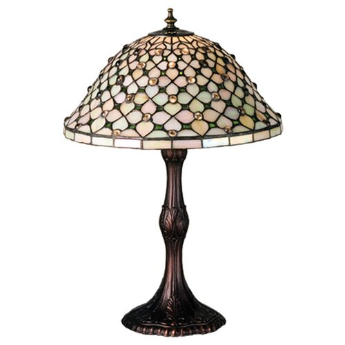 "Meyda Tiffany Tiffany Gothic Diamond and Jewel 20.5"" H Table Lamp with Bowl Shade"