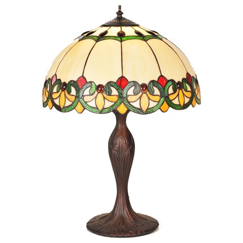 "Meyda Tiffany Victorian Tiffany Fleur-De-Lis Bent Panel 22"" Table Lamp with Bowl Shade"