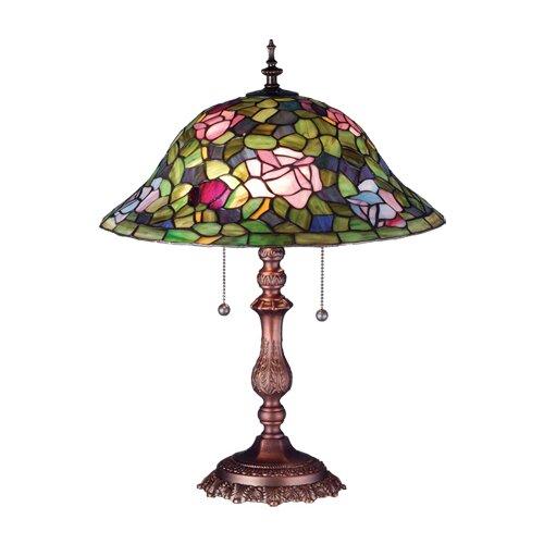"Meyda Tiffany Victorian 22"" H Tiffany Rosebush Table Lamp"