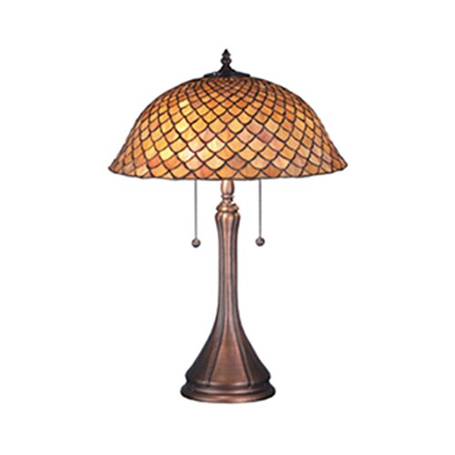 "Meyda Tiffany Victorian Tiffany Fishscale 23.5"" H Table Lamp with Bowl Shade"