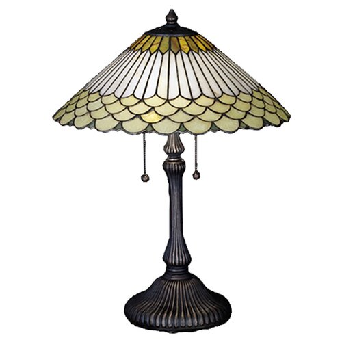 "Meyda Tiffany Jadestone Fishscale 24"" H Table Lamp with Bowl Shade"