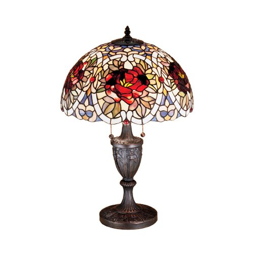 "Meyda Tiffany Renaissance Rose 24"" H Table Lamp with Bowl Shade"