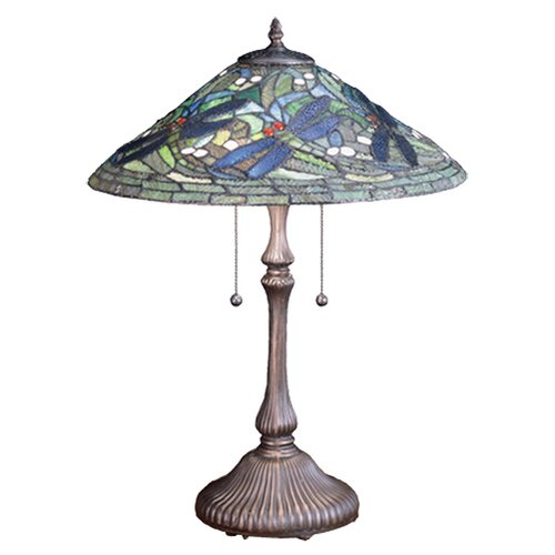 "Meyda Tiffany Tiffany Flying Dragonfly 24"" H Table Lamp with Bowl Shade"