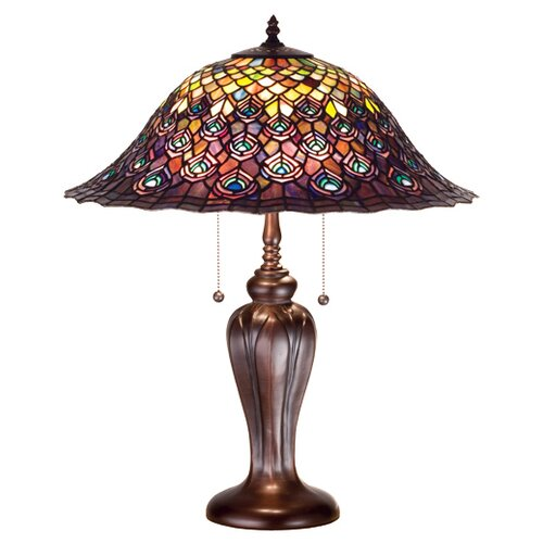 "Meyda Tiffany Tiffany 25"" H Peacock Feather Table Lamp"