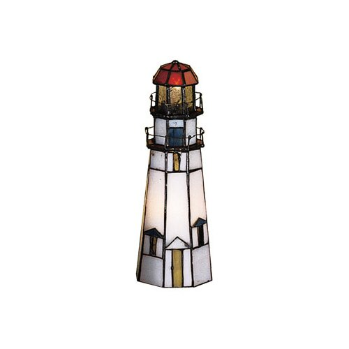 "Meyda Tiffany Marble Head Lighthouse 9"" H Table Lamp"