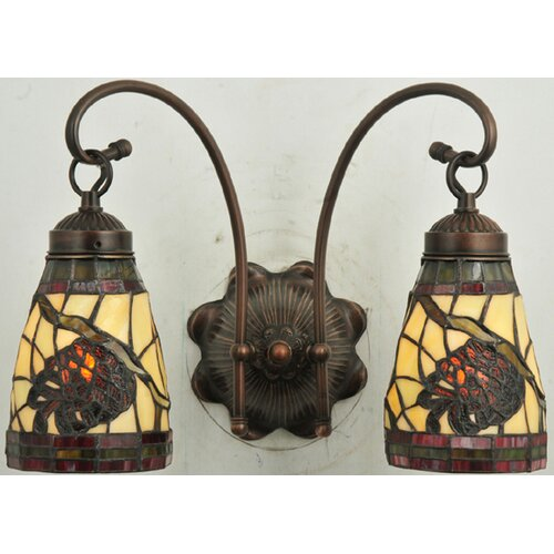 Meyda Tiffany Pinecone 2 Light Wall Sconce