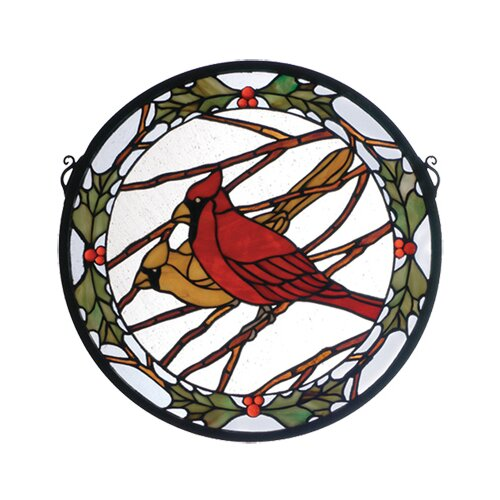 Meyda Tiffany Cardinals and Holly Medallion Stained Glass Window