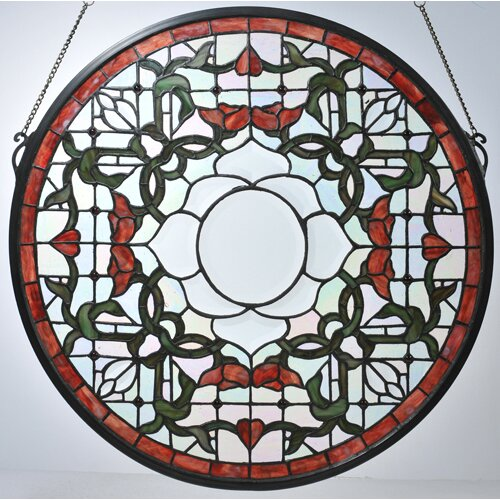 Meyda Tiffany Victorian Tulip Bevel Medallion Stained Glass Window