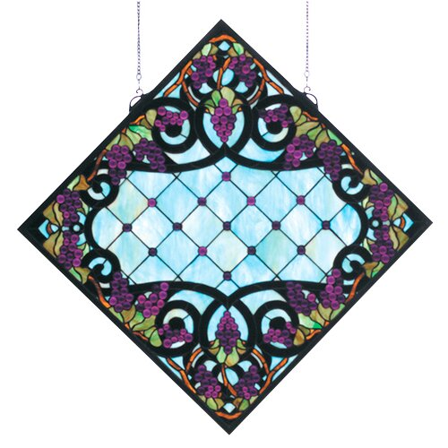 Meyda Tiffany Tiffany Jeweled Grape Stained Glass Window
