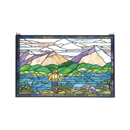 Meyda Tiffany Fly Fishing Stained Glass Window
