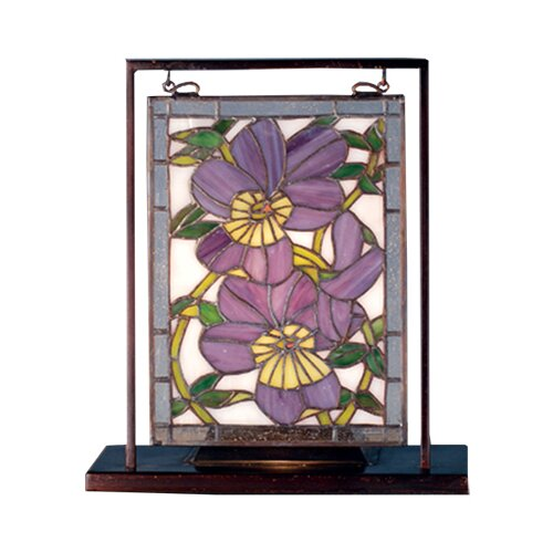 """Meyda Tiffany Floral Pansies Lighted Mini 10.5"""" H Table Lamp"""