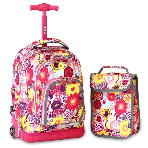 Lollipop Poppy Pansy Kids Rolling Backpack with Lunch Bag