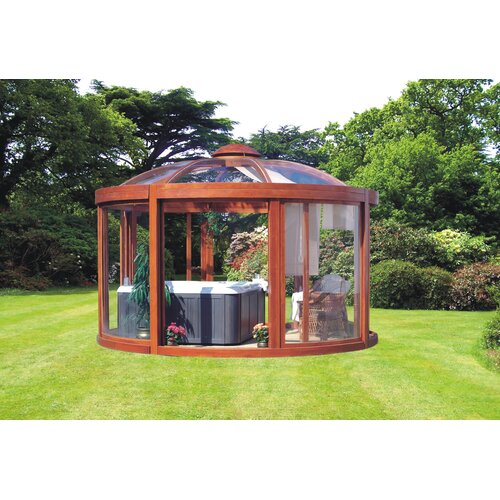 Balneo pavilion 14 ft w x 14 ft d wood gazebo wayfair for 10 ft garden pool