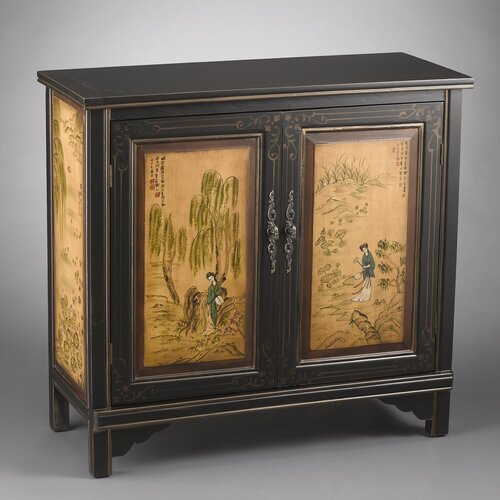 2 Door Cabinet with Oriental Lady Design