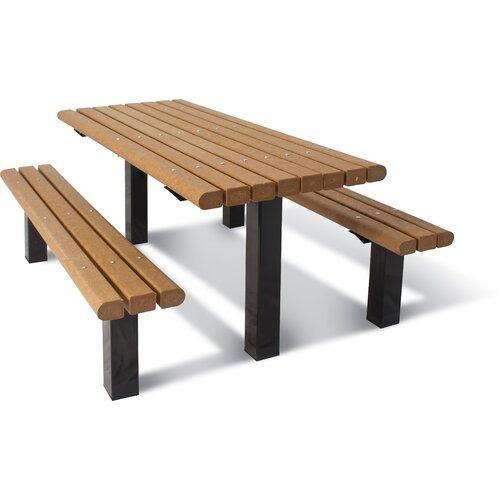 Ultra Play UltraSite ADA Multi-Pedestal Recycled Plastic In-ground Table