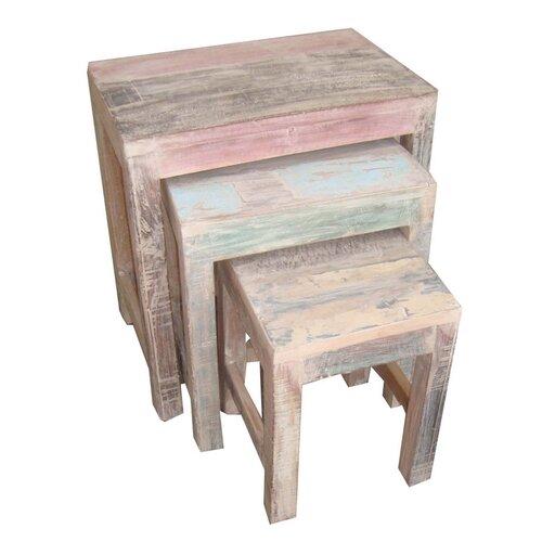 Privilege White Wash 3 Piece Nesting Tables