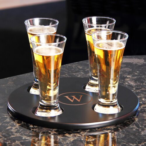 Personalized 5 Piece Round Beer Flight Sampler Set