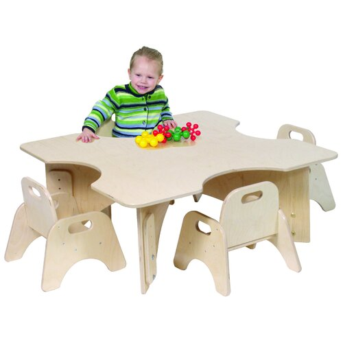 "Steffy Wood Products Infant-Toddler 36"" Four Cutout Classroom Table"