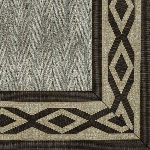 Botanical Blends Hacienda Herringbone Green Meadow Labyrinth Bordered Rug