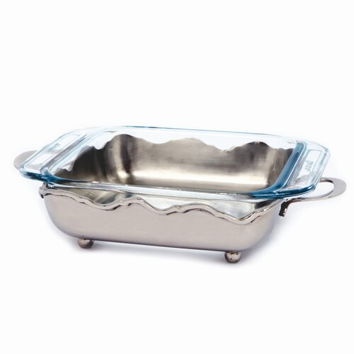 Star Home Nickel Crown Square Server with 1.9 Qt. Baker