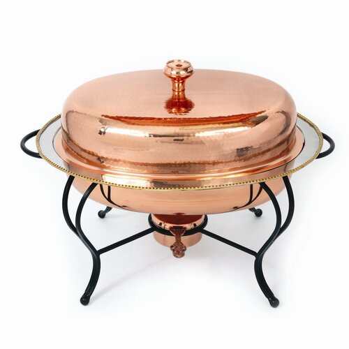 Copper 6 Qt Oval Plated Chafing Dish
