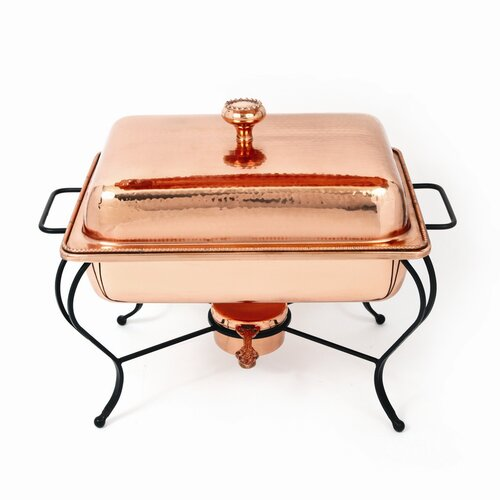 Copper 8 Qt Rectangle Plated Chafing Dish