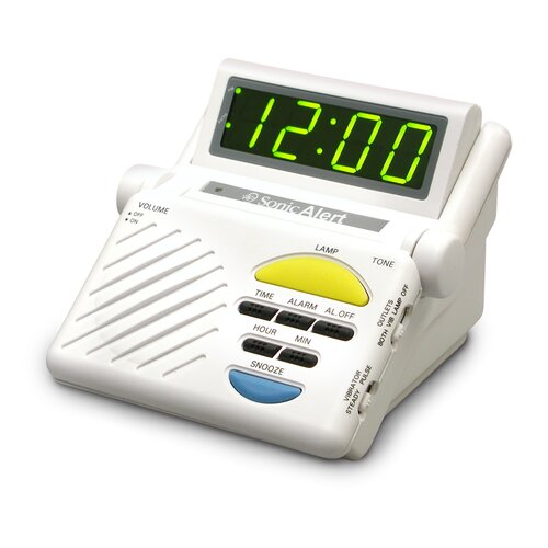 Sonic Boom Alarm Clock with Plug Outlet for Lamp Built-In Receiver