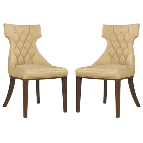 International Design USA Regis Leather Side Chair (Set of 2)