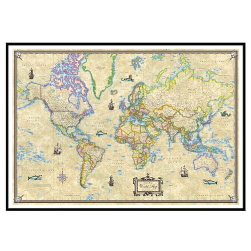 Universal Map World Antique Mounted Framed Wall Map