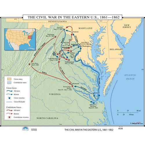Universal Map U.S. History Wall Maps - Civil War in Eastern U.S.
