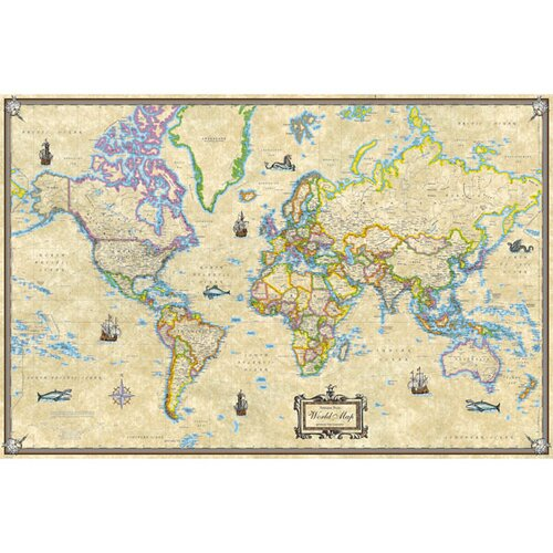 Universal Map World Antique Mounted Wall Map