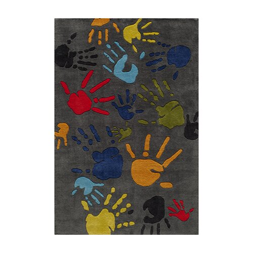 Momeni Lil' Mo Lil Mo Whimsy Grey Finger Paint Kids Rug