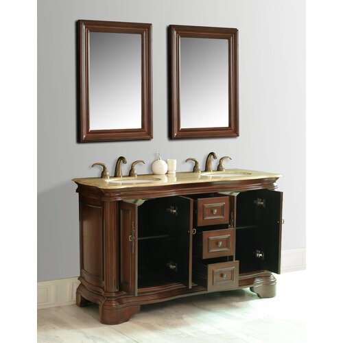 "Stufurhome Moscone 58"" Double Sink Bathroom Vanity Set"