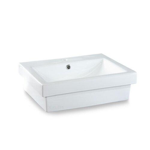 Semi-Recessed Rectangular Vitreous China Vessel Bathroom Sink