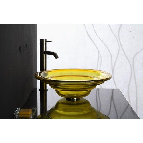 Xylem Transparent Tiered Round Glass Vessel Bathroom Sink
