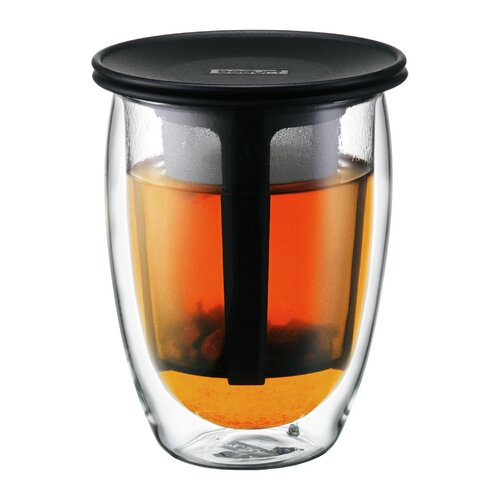 Tea for One Double Wall Glass with Strainer