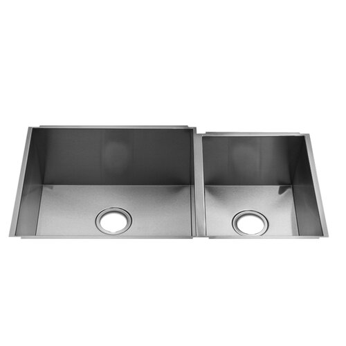 "Julien UrbanEdge 35"" x 19.5"" Undermount Double Bowl Kitchen Sink with Straight Bowl Sides"