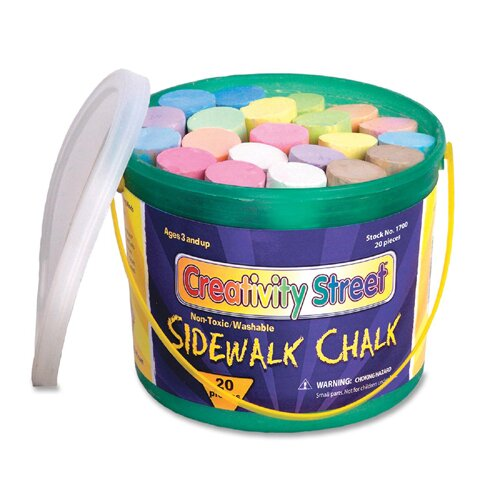 "Chenille Kraft Company Sidewalk Chalk, Washable/Nontoxic, 20 per Box, 4""x1"", Assorted"